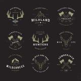 Ensemble de logo de chasseurs de faune inverti illustration libre de droits