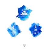 Ensemble de logo de club de yacht watercolor Photos libres de droits