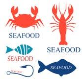 Ensemble de logo de fruits de mer Photos stock