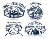 Ensemble de logo de pêche Images stock