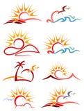 Ensemble de logo de soleil Photographie stock