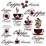 Ensemble de logo de temps de café Photographie stock libre de droits