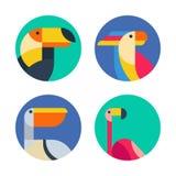 Ensemble de logo de vecteur, insignes, labels avec les oiseaux tropicaux exotiques Photos libres de droits