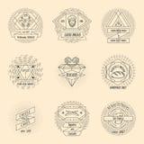 Ensemble de logo de vintage de hippie de boulangerie et de pâtisserie Photo libre de droits