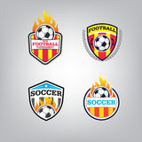 Ensemble de Logo Design Template du football, collection d'identité d'équipe d'insigne du football Photographie stock libre de droits