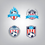 Ensemble de Logo Design Template du football, collection d'identité d'équipe d'insigne du football Photographie stock