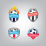 Ensemble de Logo Design Template du football, collection d'identité d'équipe d'insigne du football, graphique de T-shirt du footb Photographie stock libre de droits