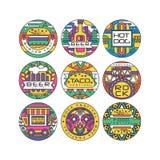 Ensemble de logo de festival de nourriture, Fest d'hamburger, festival de bière, hot-dog, nourriture de festival de Tako, de roch illustration libre de droits