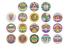 Ensemble de logo de festival de nourriture, Fest d'hamburger, festival de bière, hot-dog, nourriture de festival de Tako, de roch illustration stock