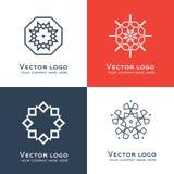 Ensemble de logo géométrique d'abrégé sur vecteur Style celtique et arabe Icône sacrée de la géométrie Conception d'identité Photographie stock libre de droits