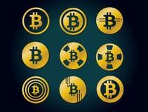 Ensemble de logo graphique d'icônes d'or de vecteur pour la crypto devise de bitcoin Images libres de droits