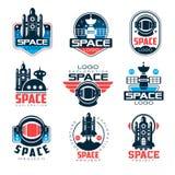 Ensemble de logo de l'espace d'exploration, illustrations de vecteur de projet d'espace illustration stock