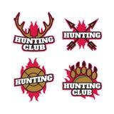 Ensemble de logo de labels d'insignes de chasse Photographie stock libre de droits