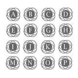 Ensemble de logo de lettre avec la partie de fond de cercle d'infini Image libre de droits