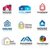 Ensemble de logo de Real Estate et de bâtiment Calibre de logo de maison de vecteur illustration stock