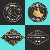 Ensemble de logo recommandé, insignes, label, étiquette dans la couleur d'or illustration stock