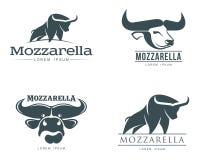 Ensemble de logos avec du fromage de mozzarella de buffle illustration de vecteur