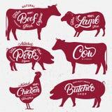 Ensemble de logos de boucherie, labels, emblèmes, calibres d'affiches illustration de vecteur