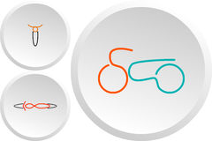 Ensemble de logos classiques de couleur de motos Photo stock
