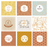 Ensemble de logos de boulangerie de vecteur Labels de pain et de pâtisseries Image stock