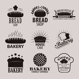 Ensemble de logos de boulangerie et de boutique de pain, de labels, d'insignes et d'éléments de conception Images stock