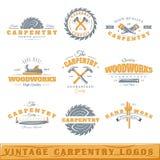 Ensemble de logos de menuiserie de vintage Images libres de droits