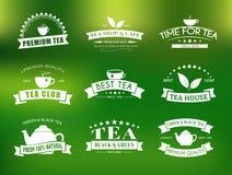 Ensemble de logos de thé avec des rubans illustration libre de droits