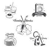 Ensemble de logos de vintage, de labels et de nettoyage d'insignes Image libre de droits