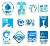 Ensemble de logos et de labels de vecteur d'eau douce avec des symboles d'aqua Image libre de droits