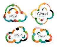 Ensemble de logos linéaires plats de nuage de conception illustration libre de droits