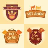 Ensemble de logos pour le magasin de bêtes, hôtel Photos stock