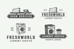Ensemble de logos de service de blanchisserie, de nettoyage ou de fer de vintage, emblèmes, Images stock