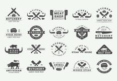Ensemble de logos de viande, de bifteck ou de BBQ de boucherie de vintage, emblèmes, insignes, labels L'industrie graphique illustration libre de droits