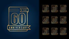 Ensemble de logotype d'anniversaire Embl d'or de célébration d'anniversaire Photo stock