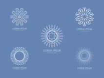 Ensemble de Logotype de luxe Logotype blanc Fleur blanche Logo sous forme de fleur Photographie stock