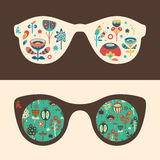 Ensemble de lunettes de soleil de hippie avec les fleurs et le feuillage colorés Image libre de droits