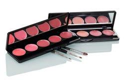 Ensemble de lustre de lèvre et de brosses de cosmétique sur le blanc Images stock