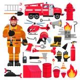 Ensemble de lutte contre l'incendie d'illustration d'extincteur de bouche d'incendie et de firehose d'équipement de lutte contre  illustration stock