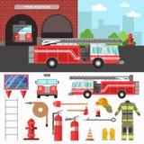 Ensemble de lutte contre l'incendie de département et d'équipement illustration de vecteur