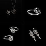 Ensemble de luxe de bijoux Anneaux d'or blanc ou d'argent, boucles d'oreille avec des cristaux et pendant d'isolement sur le noir Photographie stock libre de droits