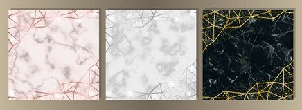 Ensemble de luxe de marbre et de scintillement illustration stock