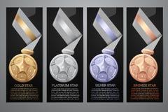 Ensemble de médailles, bannières noires illustration libre de droits