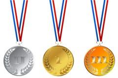 Ensemble de médailles de champions Photo stock