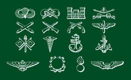 Ensemble de médailles militaires et de symboles Photographie stock libre de droits