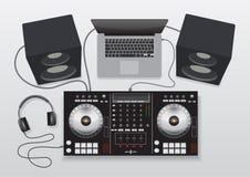 Ensemble de mélange de contrôleur du DJ photo stock