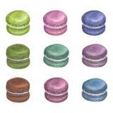 Ensemble de macarons colorés d'aquarelle illustration stock