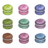 Ensemble de macarons colorés d'aquarelle image stock