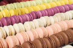 Ensemble de macarons français de biscuits Image libre de droits