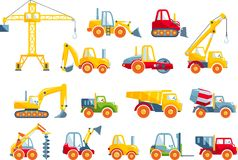 Ensemble de machines de construction lourde de jouets dans un appartement Photo stock