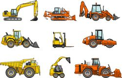 Ensemble de machines de construction lourde Vecteur Photos stock
